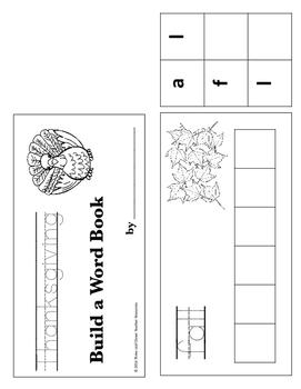 Thanksgivingl Build a Word Book - Color, Cut and Glue Activity