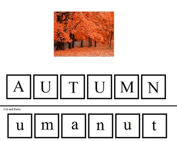 Thanksgivng Cut & Paste Letters (Lower to Upper Case)