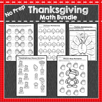 Thanksgiving Multiplication, Division, Graphing, Story Problems, Time
