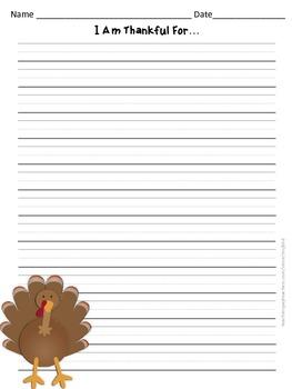 Thansgiving Writing - Thankful