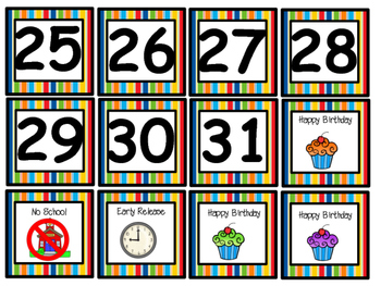 That Cool Cat's Calendar Set in Primary Color