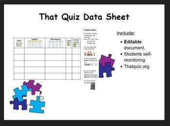 That Quiz Data Sheet for Students
