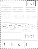That - Word Work Worksheet