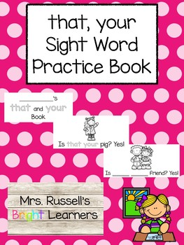 That, Your Sight Word Practice Book