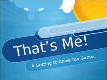 That's Me! A Getting to Know You/First Day of School Game