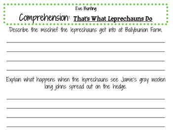 That's What Leprechauns Do by Eve Bunting:   A Complete Literature Study!