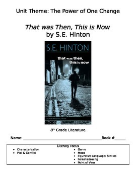 That was Then, This is Now by S.E. Hinton novel packet