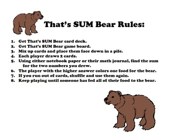 That's SUM Bear: Adding Using Larger Numbers