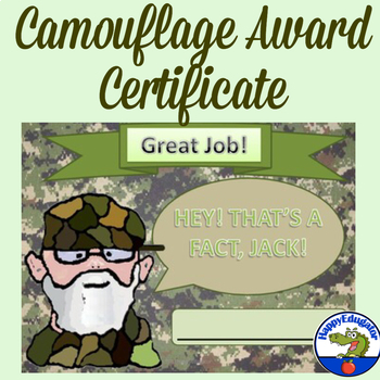 Camouflage Award Certificate