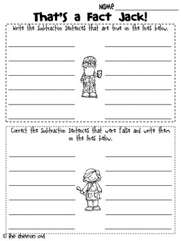 That's a Fact Jack!  True/False Subtraction Sentences for 1st Grade