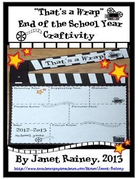"""End of 2015-2016 School Year """"That's a Wrap"""" Craftivity Freebie"""
