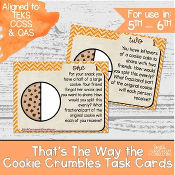 Multiplying Fractions Task Cards -  That's the Way the Cookie Crumbles
