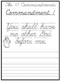 The 10 Commandments Cursive Writing Worksheets. 2nd-5th Grade Bible Studies.