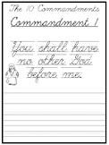 The 10 Commandments Cursive Writing Worksheets. 2nd-5th Grade Bible Studies.