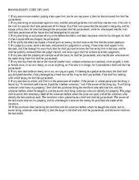 The 10 Commandments & Hammurabi's Code - Comparison Worksheet
