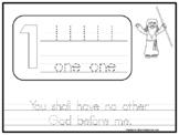 The 10 Commandments Tracing Worksheets. NIV Preschool-1st Grade. Bible Study