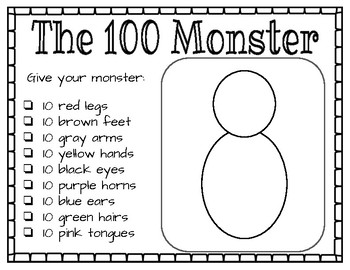 The 100 Monster - 100th Day Activity