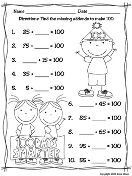 The 100th Day Of School No Prep Math Printables
