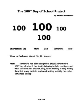 The 100th Day of School Project - A Small Group Reader's Theater