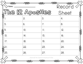 The 12 Apostles Task Cards or SCOOT Game