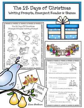 The 12 Days Of Christmas: Writing Prompts, Emergent Reader & Games