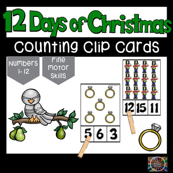 The 12 Days of Christmas Count and Clip Number Cards