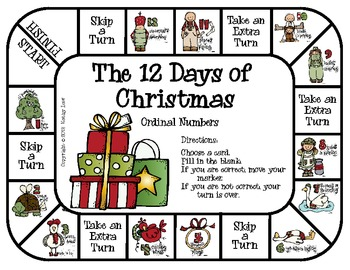 The 12 Days of Christmas -- Ordinal Numbers Game by Kathy Law | TpT