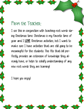 The 12 Roots of Christmas- Greek & Latin Root Words Christmas Activity!