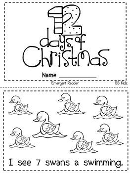 The 12 days of Christmas Emergent Reader / Kindergarten