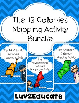 Colonial America: The 13 Colonies Interactive Notebook Mapping Activity Bundle