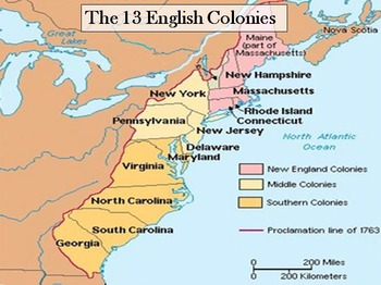 The 13 Colonies - Interactive Powerpoint & worksheet w/ an