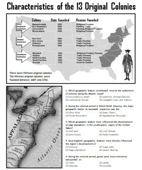 The 13 Colonies Lesson (3 Geographic/Economic Regions)