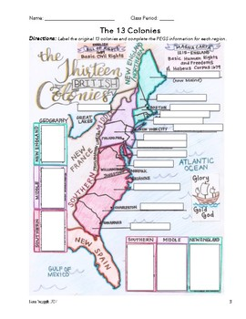 The 13 Colonies - Map & PEGS