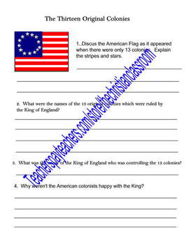 The 13 Colonies Printable Worksheet