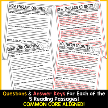The 13 Colonies Reading Passages | Thirteen Colonies