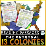 The 13 Colonies Reading Passages Distance Learning | Thirt
