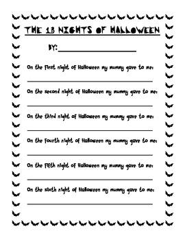 The 13 Nights of Halloween Poem