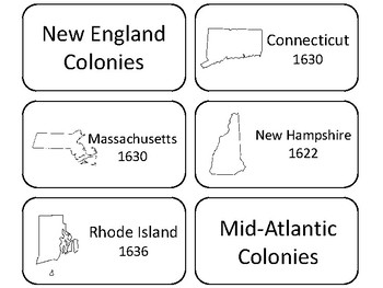 photo relating to 50 States Flash Cards Printable named The 13 First Colonies Printable Flashcards. US Historical past and Geography