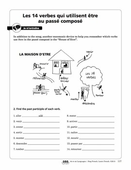 French Passé Composé with Etre Song and Writing Activities