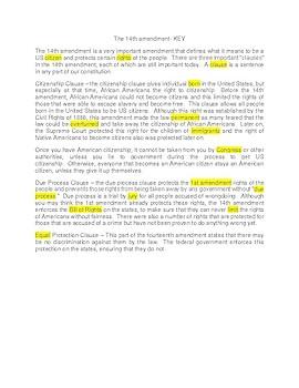 The 14th Amendment --  CLOZE Reading