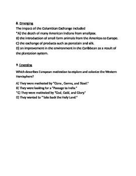 Age of Exploration Final Exam, Respondus Format (World Civilizations II)