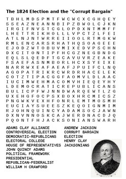 """The 1824 Election and the """"Corrupt Bargain"""" Word Search"""
