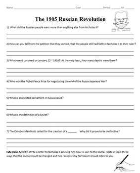 The 1905 Russian Revolution and The Duma DBQ and Crossword Homework Combo Pack