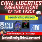 1920's Civil Liberties Organizations - ACLU NAACP  UNIA ADL - Print & Digital