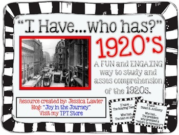"""The 1920s """"I Have...Who Has?"""" Review Game"""