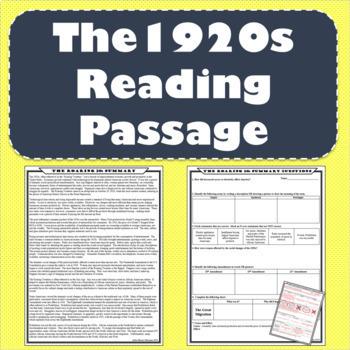 The 1920s (Roaring Twenties) Reading Passage and Response Worksheet