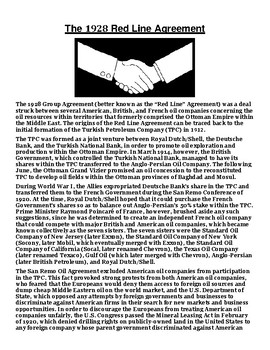 The 1928 Red Line Agreement Article with Summary Assignment