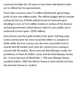 The 1936 Berlin Olympic Games