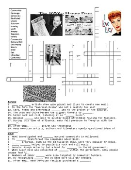 The 1950's: Happy Days Crossword Puzzle or Web Quest