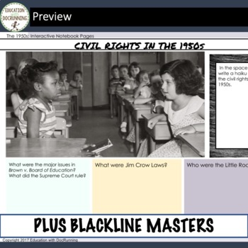 The 1950s 16+ Digital Interactive Notebook Pages for US History